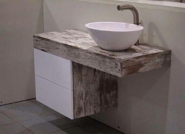 Mueble con lavabo sobre encimera 700x508 reforma con estilo for Medidas lavabo